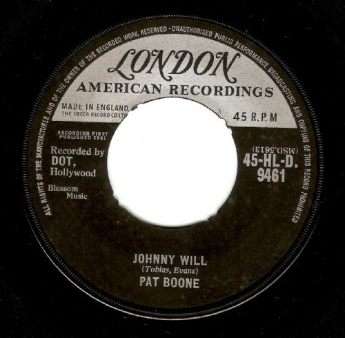 PAT BOONE Johnny Will Vinyl Record 7 Inch London 1961
